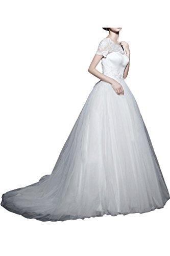 La_mia Braut Hochwertig Weiss Spitze Kurnzarm Hochzeitskleider Brautkleider brautmode Lang A-linie Prinzess Rock