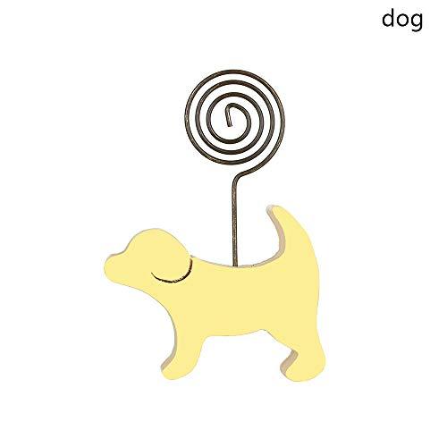 - maxgoods Cartoon Animals 1 PC Figurine Wood Photo Clip Gift CraftsWood Home Desktop Ornament Animal Figurines Memo Folder Pictures Holder(Dog)