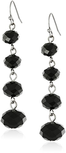 Black Graduated Beaded Linear Drop Earrings (Black Bead Drop Earrings)