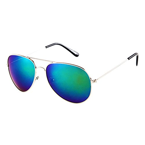 Blue Sunshine Unisex Reflective Fashion Poiarized Driving Aviator - Magnetic Clip Ons Sunglass Replacements
