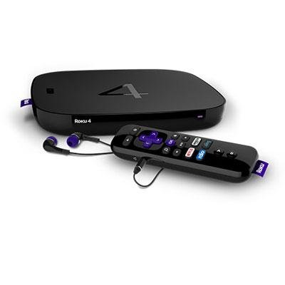 Roku 4 | HD and 4K UHD Streaming Media Player with Enhanced Remote (Voice Search, Lost Remote Finder, and Headphone),Quad-Core Processor,Dual-Band Wi-Fi, Ethernet, and USB Port (Certified Refurbished) by Roku