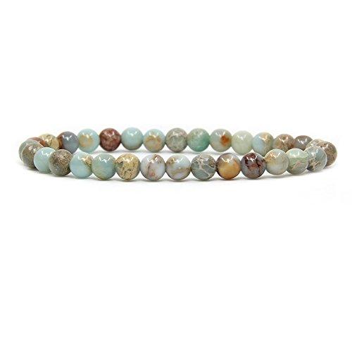 Natural Serpentine Gemstone 6mm Round Beads Stretch Bracelet 7