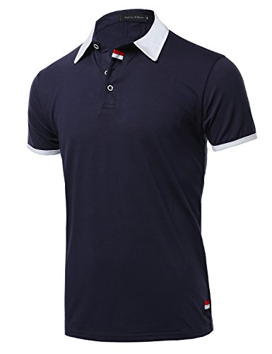 Style by William Men's Subtle Color Contrast Polo Tee Navy 2XL - William Huges