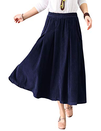 (Women's Corduroy Skirts Elastic Waist Loose A-Line Pleated Swing Midi Skirt (Navy, One)