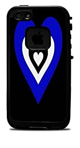 Blue & White Heart in a Heart Vinyl Decal Sticker for iPhone 5 5s Lifeproof Case