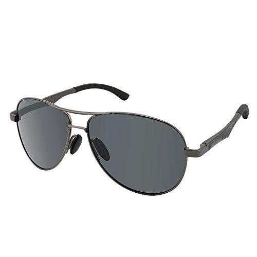 Dreamviva Anti-Glare Polarized UV400 Aviator Al-Mg Frame Spring Hinge Men Sunglasses Metallic Gray Frame Black - Hinge Sunglasses Spring