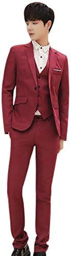秋冬 スーツ - メンズ スリムフィット 3ピース スーツ ジャケット チョッキ パンツ 紳士 通勤