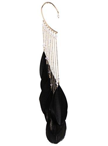 Bohemian Peacock Feather Dangle Drop Hoop Earrings for Women Vintage Enamel Owl Charms (Peacock Tassel) -