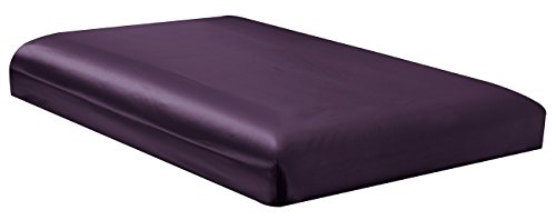 TWIN size, Bridal SATIN Solid Purple Fitted Bed Sheet - Super Silky & Soft - SALE - High Thread Count - 1500 Series-Wrinkle, Fade, Stain Resistant, Deep Pockets, 100%