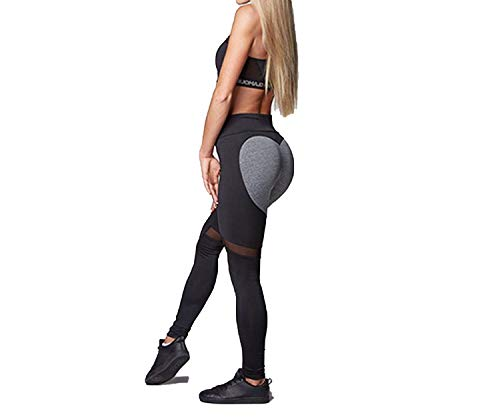 Sexy Heart Yoga Pants Women Patchwork Yoga Leggings Women Push up Leggins Sport Women Fitness Legging Running Pants Women,Black,M