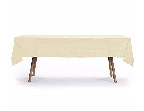 10 Pack Rectangular Table Cover, Premium Plastic Tablecloth, Plastic Table Cover Reusable (Ivory) (Table Plastic Cover Ivory)