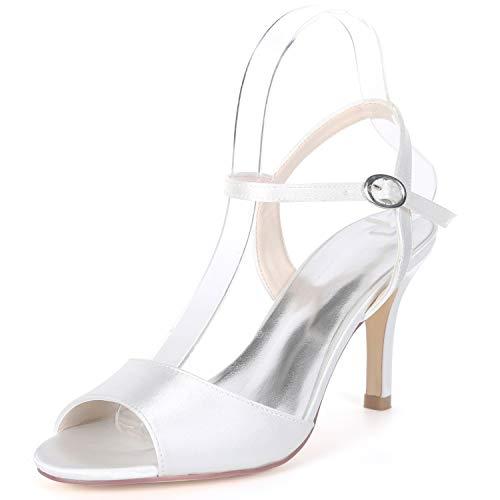 De FY992 Hauts Evening amp; Femme YC Kitten White Satin Taille Chaussures 5cm pour 8 Buckle Talons Mariage L Party Ivoire qFEPxwCUx