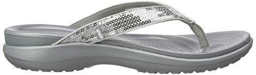 Crocs Flip Donna V Silver Argento Pantofole SIL W Capri Sequin rw6rx