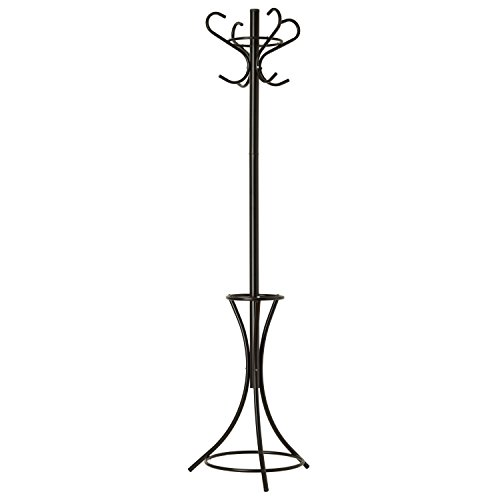 GrayBunny GB-6808 Metal Coat Rack, Hat Stand, Umbrella Holder, Hall Tree, Black, For Home or Office