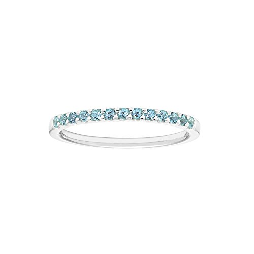 14k Birthstone December Ring - 14K Gold Genuine Blue Topaz Stackable 2MM Wedding Anniversary Band Ring- December Birthstone