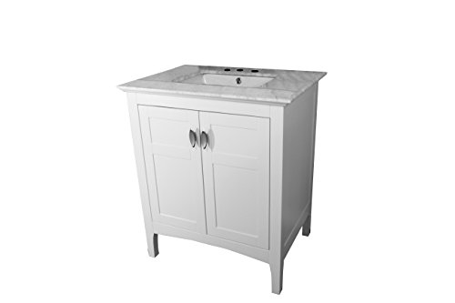 Bellaterra Home 7613-WH-WH Single Sink Vanity in White White Marble Top, 30