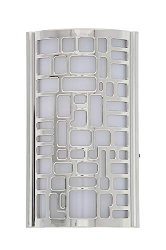 Capstone Power Failure LED Plugin Night Light - Automatic Dusk to Dawn Sensor Feature, Decorative Sconce Lights Up Your Home When The Power Fails - Covers Unused Outlet Plugs - Puzzle Art, Chrome