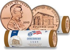2009 P&D Lincoln Cent Birthplace US Mint Wrapped Rolls Brilliant Uncirculated 2009 Lincoln Penny Roll