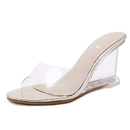 Women's Crystal Wedge Sandals Clear Lucite Slip On Open Toe Fashion High Heeled Pumps Sandal Gold
