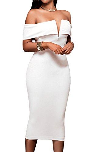 AlvaQ Women Sexy Off The Shoulder Evening Bodycon Club Midi Dress Medium White