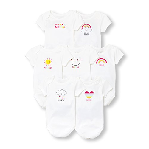 The Children's Place Baby Girls Shortsleeve Body Suit Bundle, Multi Clr, 0-3MONTHS - Collection Bodysuit