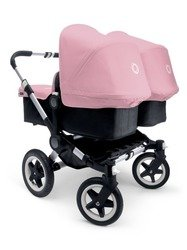 Bugaboo 2015 Donkey Twin Stroller Complete Set in Aluminum and Black