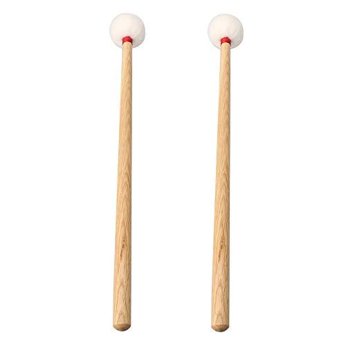 (Lovermusic 40cm Timpani Mallets Timpani Sticks with White Middle-Hard Velvet Head Mallets Wood Handles Black Pack of 2)