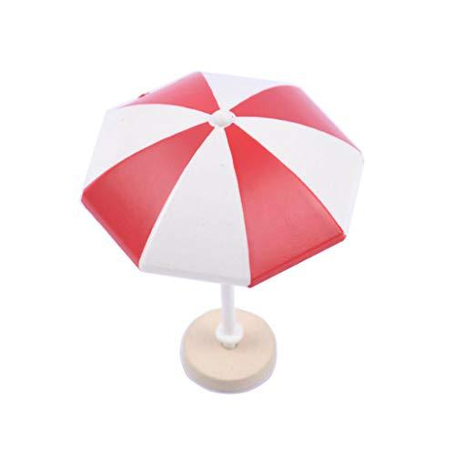 (NATFUR Beach Sun Umbrella Dollhouse Yard Garden Scenes Decoration DIY Supply Red+M)