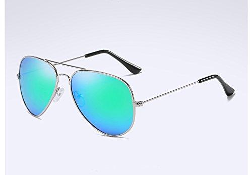 Gafas de polarizadas Guía Sunglasses de Plata Hombre la Atrás Sol green Sol Gris Sol Aleación UV400 en TL silver Gafas de Gafas IqXwZBZ