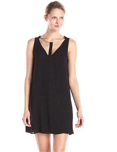 PU&PU Robe Aux femmes Ample Simple,Couleur Pleine Licou Au dessus du genou Coton / Polyester , black-m , black-m