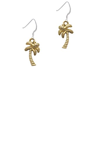 (Goldtone Palm Tree - French Earrings )