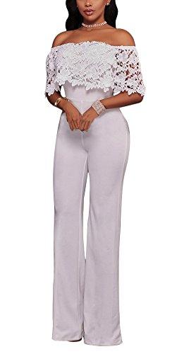 Bestdress Women's Sexy Off Shoulder Lace Top High Waist Long Wide Leg Jumpsuit Rompers Large White