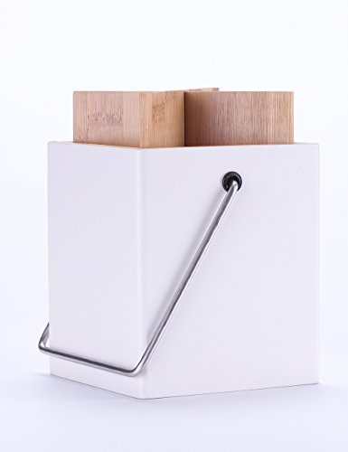 White Bamboo Kitchen Utensils Holder - Large Utensils Crocks for Cooking Utensils Set Storage
