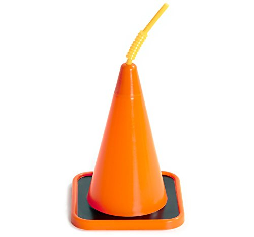 Construction Childrens Birthday Party Supplies - Orange Construction Cone Plastic Sippy Cup with Straw (4)