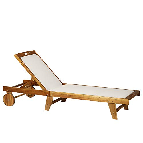 Chairs Mesh Lounge (Outsunny Mesh Acacia Wood Adjustable Outdoor Sun Lounger with Wheels)