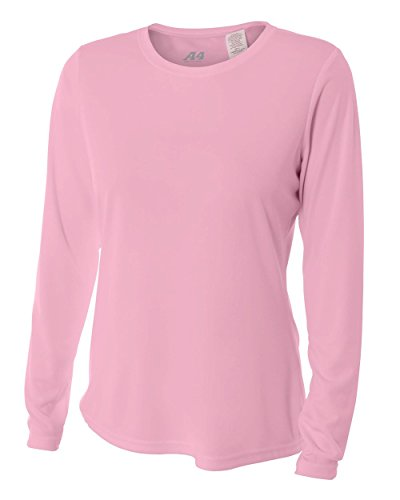 A4 Women's Cooling Performance Crew Long Sleeve T-Shirt, Pink, XX-Large