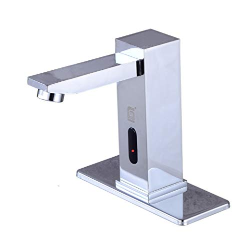 Gangang Automatic Faucet Full Brass Square Body Waterfall Touch Free Automatic Sensor Tap Sink Hot Cold Mixer Faucet (Chrome B)