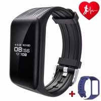 Dawo Fitness Tracker Watch IP68 Waterproof Activity Wireless Smart Bracelet with Continuous Heart Rate Monitor Step Calorie Sleep Counter Bluetooth Wristband Pedometer Sports Smart Band(Black)