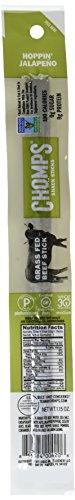 Chomps 100% Grass Fed Beef Snack Jerky Sticks Whole30 Hoppin Jalapeno, 27.6 oz, Pack of 24