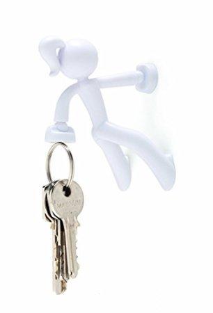 Key Petite - Key Pete Girl Strong Magnetic Key Holder Hook Rack Magnet - White