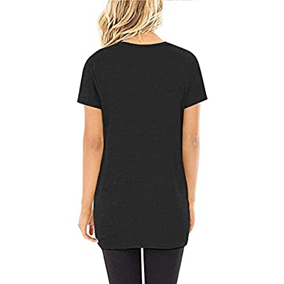 Yidarton Women's Comfy Casual Short Sleeve Side Twist Knotted Tops Blouse Tunic T Shirts at Women's Clothing store