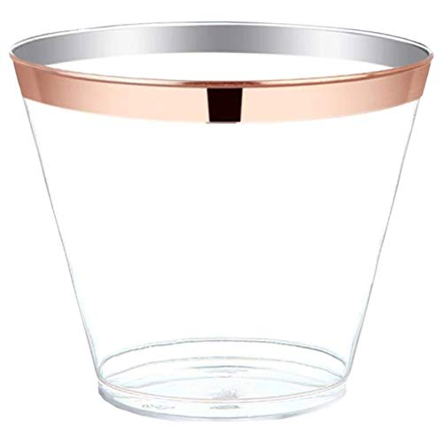 (Rose Gold Cups 100 Pack: Rosegold Rimmed Plastic Party Tumblers, Disposable 9oz. Wine Glasses, Rose Gold Rim Tumblers, Clear Cocktail Glass with Rose Gold Trim for Parties and)