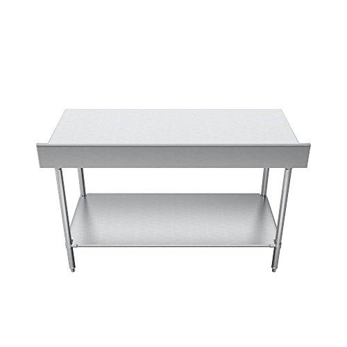 Elkay Professional Series NSF Stainless Steel Table with Backsplash Adjustable Height Feet and Undershelf, 72