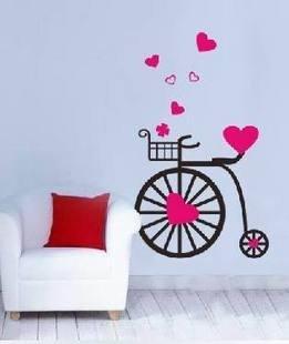 Vinilo Decorativo Pegatina Pared Cristal Puerta Varios Colores A Elegir Bicicleta Con Corazones