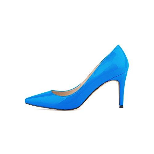 Ochenta mujer de la PU de cuero de patente los zapatos del partido de boda de la manera clasica Cielo Azul