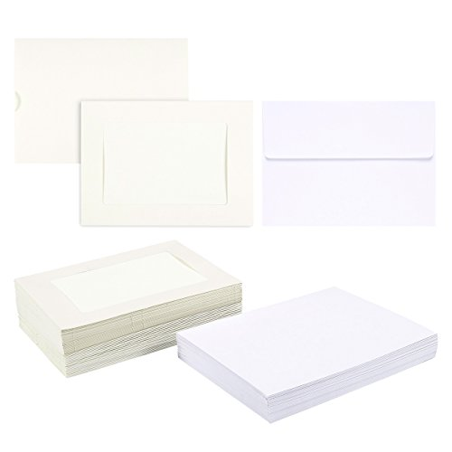 Card Photo Custom (Photo Insert Note Cards - 50-Pack Paper Picture Frames Cards and Envelopes - Elegant White Paper Photo Mats, Perfect for Inserting and Sending Memorable Documents, Holds 4 x 6 Inches Inserts)
