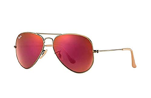 Authentic Ray-Ban Aviator RB 3025 167/2K Demiglos Brushed Bronze/Red Mirror 58mm (Ray Ban 3025 Aviator Sunglasses With Red Lenses)