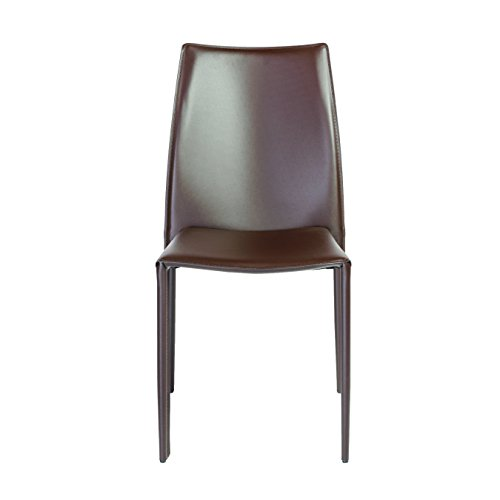 Euro Style Dalia Leather Stackable Dining Side Chair, Set of 4, Dark ()