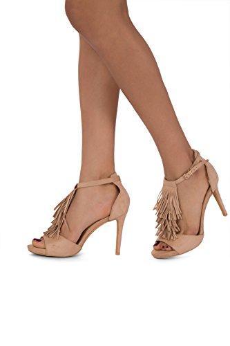 Damen High Heel Peep Toe Ankle Strap Schnalle Sandalen Größe UK 345678 Beige
