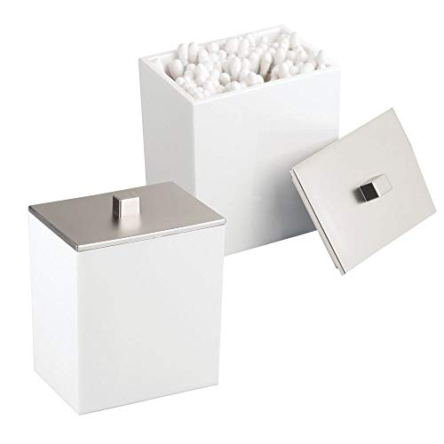 mDesign Modern Square Bathroom Vanity Countertop Storage Organizer Canister Jar for Cotton Swabs, Rounds, Balls, Makeup Sponges, Bath Salts - 2 Pack - White/Brushed ()